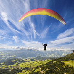 Paraglider over the lake district
