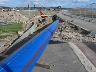 Barrier pipe under road (Waverley, Sheffield)
