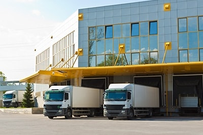 Lorries in a distribution centre.