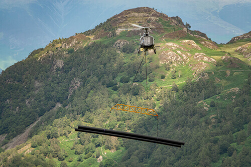Helicopter delivering HDPE to Hydro Scheme close up