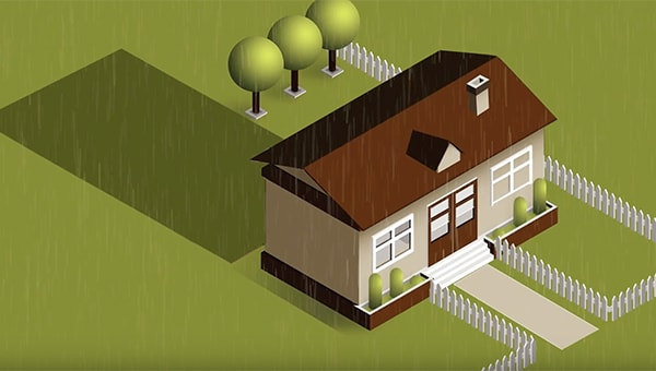 An illustration of a house with garden and pathway.