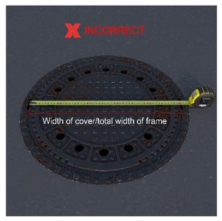 Don't measure the top of the manhole cover when sizing a manhole.