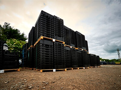 Crates in yard.
