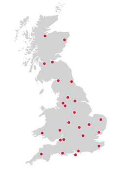 Map of JDP branches in the UK.