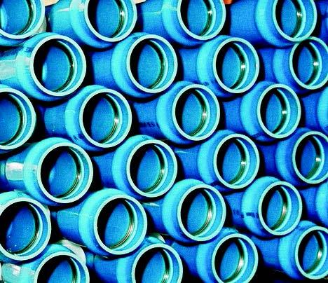 Blue PVC-O irrigation pipes.