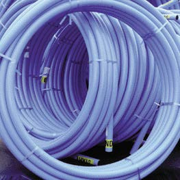 Coil of blue MDPE