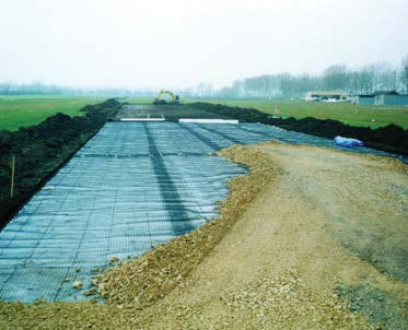 Geogrid being installed on site.