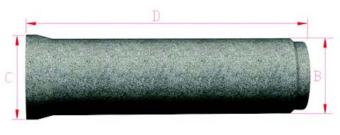 Cross section of concrete pipe: A = internal diameter; B = Barrel Diameter; C = Socket Diameter; D = Effective Length.
