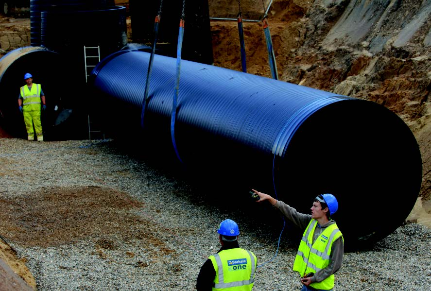 A large diameter HDPE pipe for surface water drainage use.