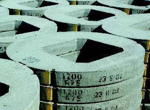 Concrete manhole rings.