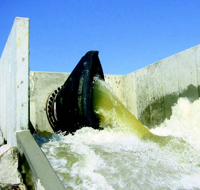 Discharge valve at a dam.
