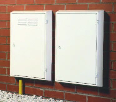 Meter boxes on house